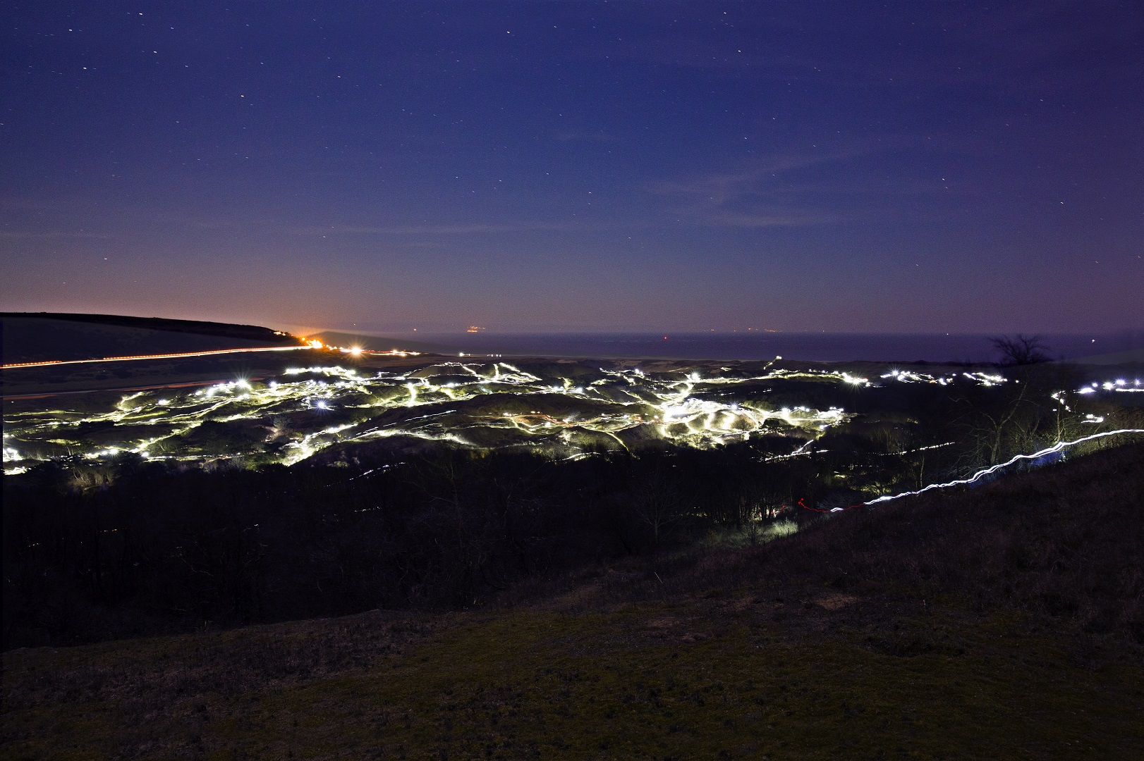 Long exposure torch trails over Merthyr Mawr Sand dunes